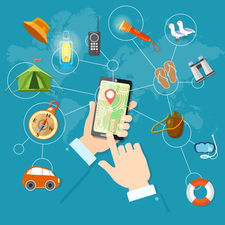 routing: Mobile gps navigation and travel phone in hand geolocation routing mapping vector illustration Illustration