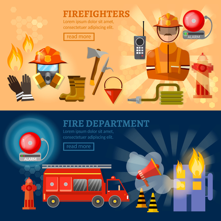 alerting: Firefighters banners fire station extinguish a burning house vector illustration