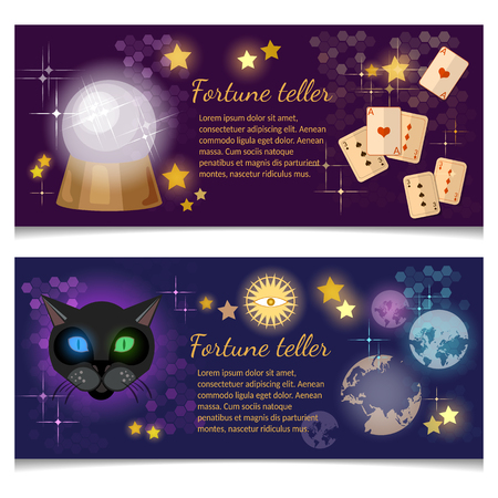foretell: Astrology and alchemy banners magic ball fortune telling vector illustration