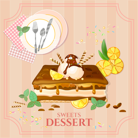 chocolate mousse: Desserts and sweets cupcake cake ice cream vector illustration