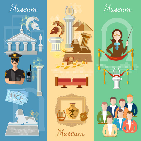 tour guide: Museum banner antiquity and natural science exposition ancient civilizations tour guide at the museum group excursions vector illustration