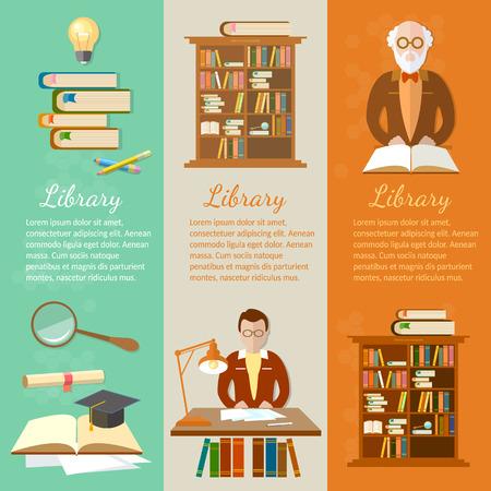 biblioteca: banners Biblioteca estudiantes leen libros ilustración vectorial profesor bibliotecario Vectores