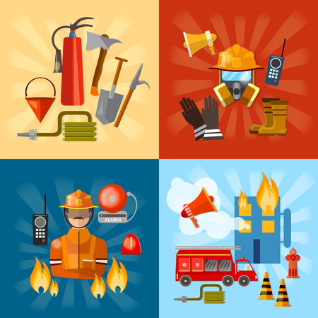 alerting: Firefighters set fire station fire fighting extinguish burning house vector illustration