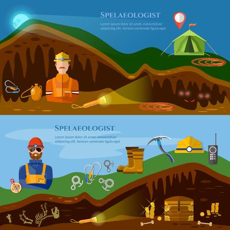 archeology: Speleology banners caves study underground mines vector illustration Illustration