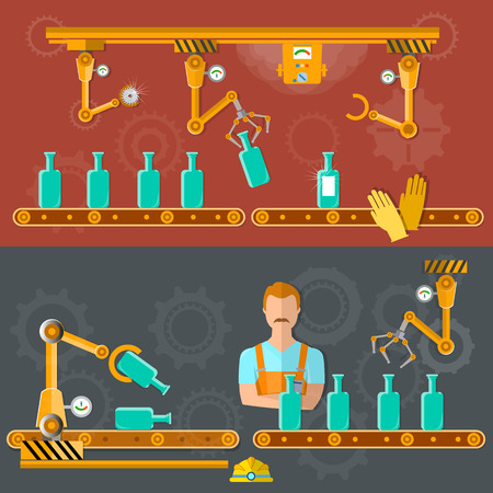 production line: Conveyor belt banner wine distillery assembly line vector illustration