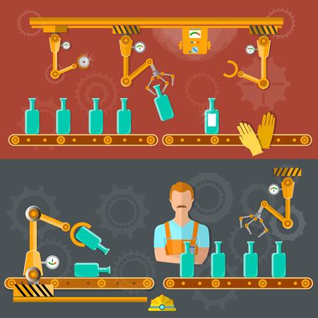 Conveyor belt banner wine distillery assembly line vector illustration