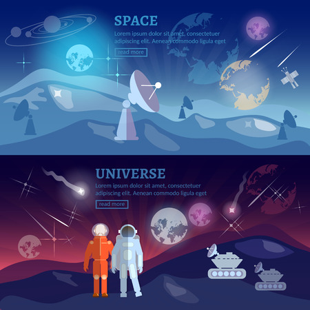 space program: Astronauts space program banner research and space exploration vector illustration Illustration