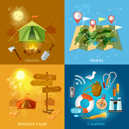 backpacking: Tourism and travel set hiking summer holidays camping backpacking vector illustration Illustration