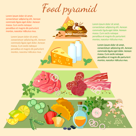 nutrients: Health food infographic healthy eating food pyramid vector illustration Illustration