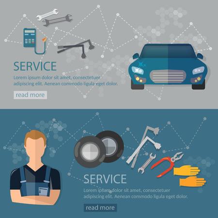 auto repair: Auto repair banners auto mechanic car repair Illustration