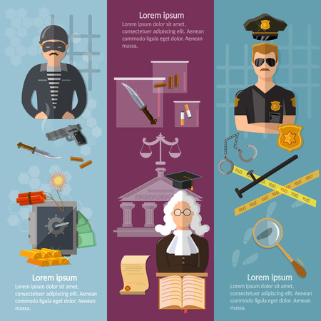 theft proof: Justice system banner crime and punishment criminal trial judge in court vector illustration