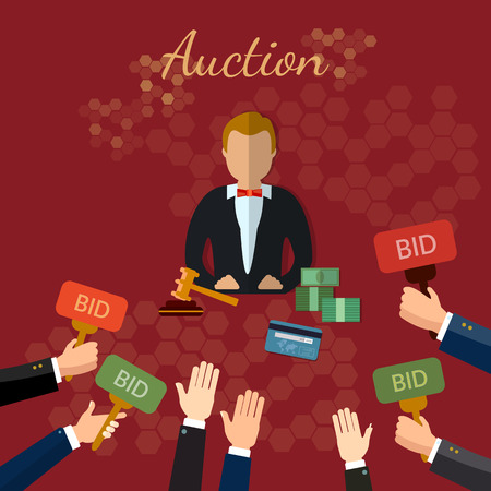 Auction and bidding concept vector illustration