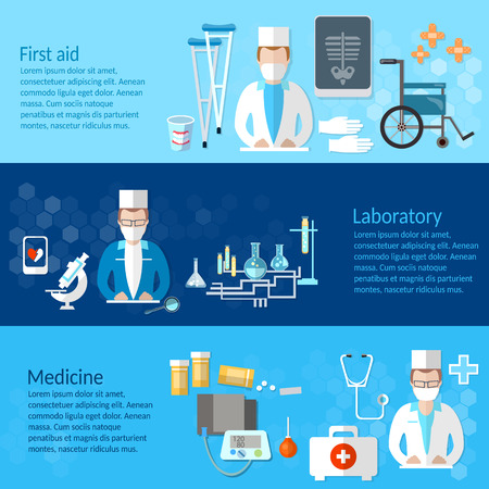 Medicine and pharmaceuticals banner pills doctors hospitals medicines laboratory syringes study vector