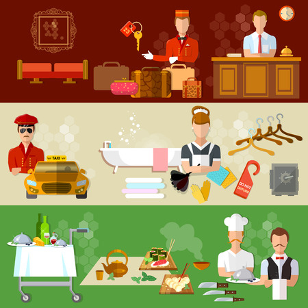 hotel staff: Hotel service banners professional hotel staff motel vector illustration