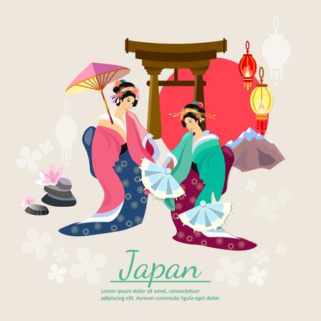 Geisha japonés tradición japonesa y la ilustración vectorial cultura