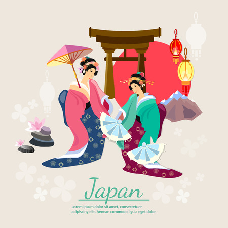 tradition: Japanese geisha japanese tradition and culture vector illustration