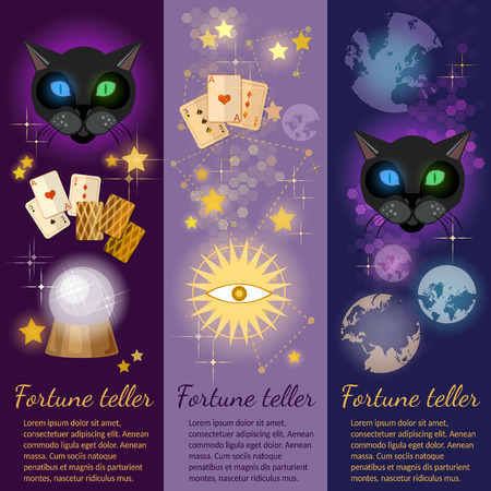 clairvoyant: Astrology and alchemy banners alchemy fortune telling vector illustration