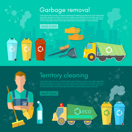 waste separation: Garbage truck dumpster and workers banner sorting waste for recycling separation of waste on garbage bins vector illustration
