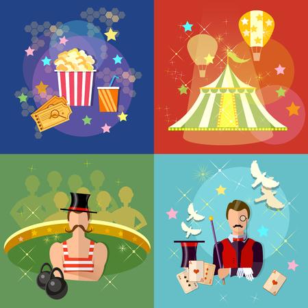 strongman: Circus set performance magician strongman circus show magic tricks vector illustration