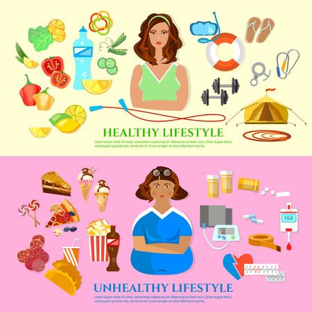 건강한 라이프 스타일, 건강에 해로운 라이프 스타일 배너 다이어트 및 피트니스 지방 및 슬림 소녀 패스트 푸드 및 비만 문제 벡터 일러스트 레이션
