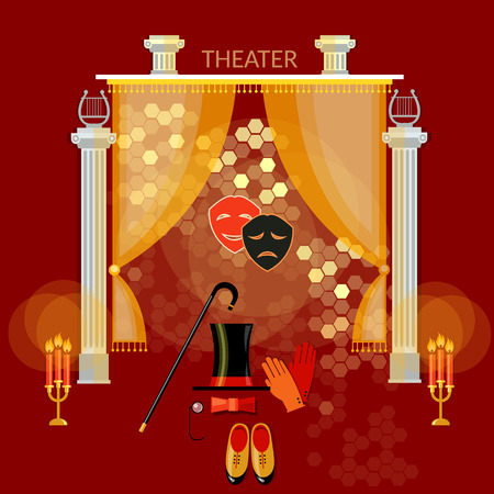 operetta: Theater performance vintage comedy and tragedy masks theater stage curtain vector illustration