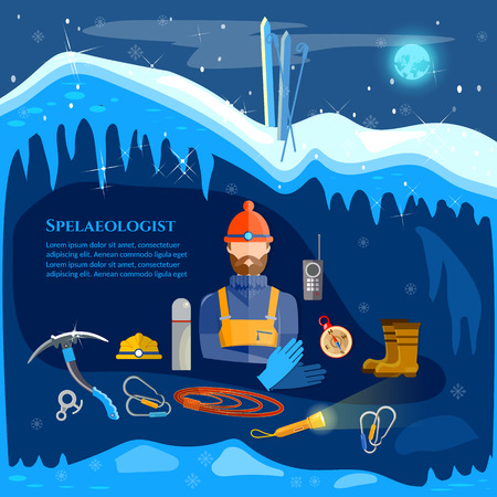 Climber adventure in the mountains study ice caves speleology spelunker extreme sports vector illustration