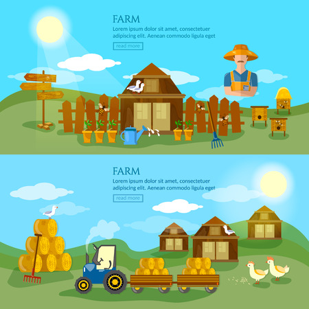 apiarist: Farm banner apiarist apiary organic foods hay tractor farm landscapes vector Illustration