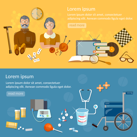 'nursing home': Nursing home banners social care for the elderly retirement home vector illustration