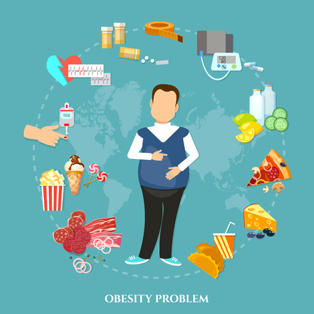 causes: Obesity fat man causes and effects of obesity vector illustration