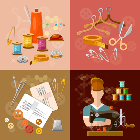 seamstress: Seamstress and tailor set tailoring sewing machine clothes production