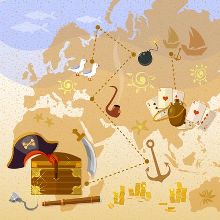 Piraten-Schatzkarte Meer Abenteuer treasure chest Vektor-Illustration