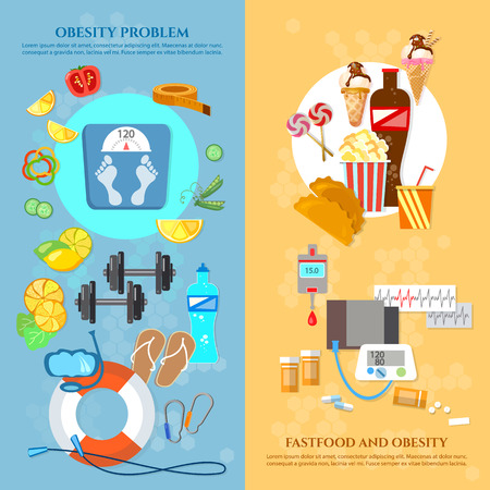 overeating: Obesity problem banner unhealthy eating diet sports and gymnastics overweight vector illustration Illustration
