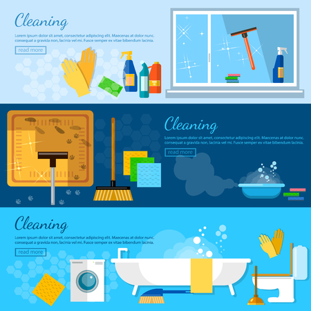 carpet cleaning service: Cleaning service banners home cleaning cleaning in the bathroom washing windows carpet cleaning washing dishes vector illustration