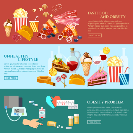 diabetes food: Unhealthy food banner obesity unhealthy lifestyle fast food and sweets vector illustration