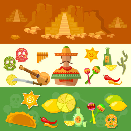 poncho: Mexico banners mexican culture and food poncho guitar vector illustration
