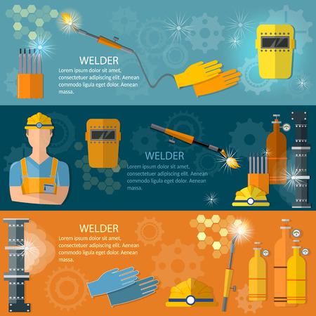welder: Professional welder banner welding machine welding equipment vector illustration