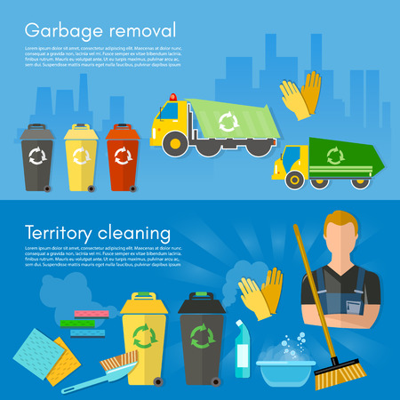 garbage collection: Garbage collection banner garbage sorting scavenger team sorting waste for recycling separation of waste on garbage bins vector illustration
