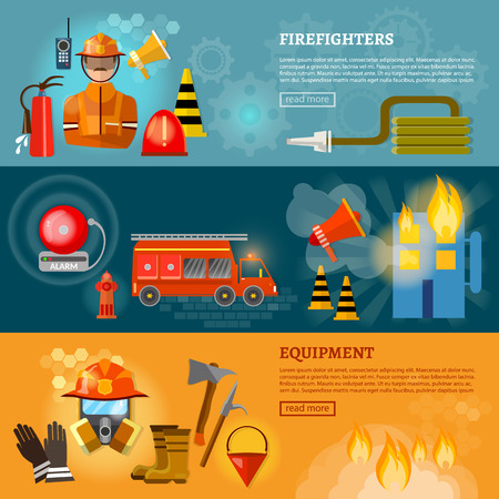 Professional firefighters banners equipment fireman fire safety vector illustration