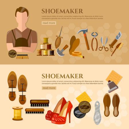 shoe repair: Shoemaker banners shoe repair shoe care professional equipment cobbler vector illustration Illustration