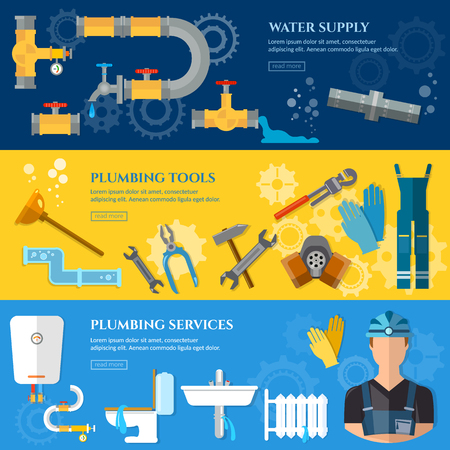 plumbing accessories: Plumbing repair service banner professional plumber different tools and accessories vector illustration