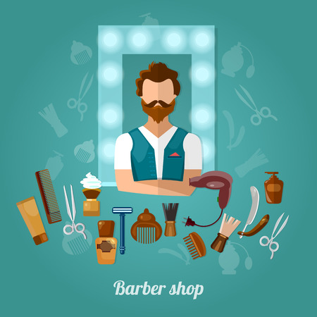 hairstylist: Barbers shop hairstylist hipster beard vector illustration