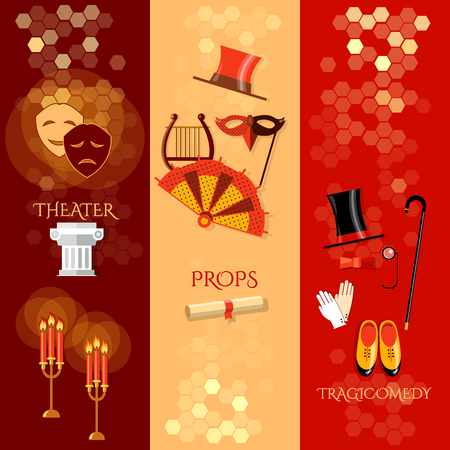 stage props: Theater flat banners theater masks theater tickets tragedy performance vector illustration