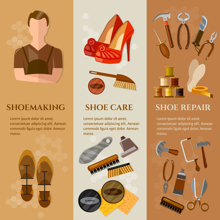 awl: Shoemaker banners professional equipment cobbler shoe repair shoe care vector illustration