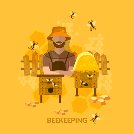 apiarist: Professional beekeeper sweet organic honey bees in the apiary vector illustration Illustration