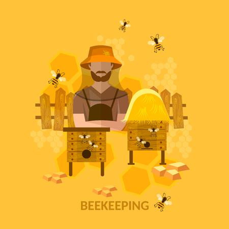 beekeeper: Professional beekeeper sweet organic honey bees in the apiary vector illustration Illustration