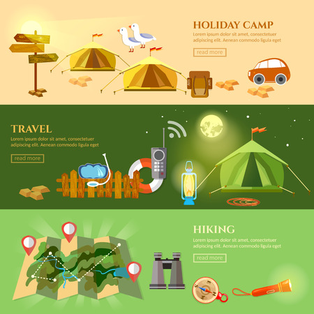 Tourism and travel banner hiking camping backpacking vector illustration