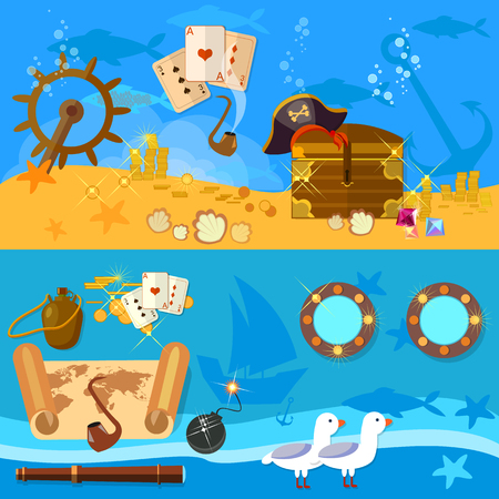 portholes: Pirate adventure banners underwater treasure chest pirate map vector illustration