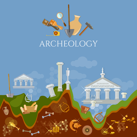 Archeology excavations of ancient treasures ruins of civilizations
