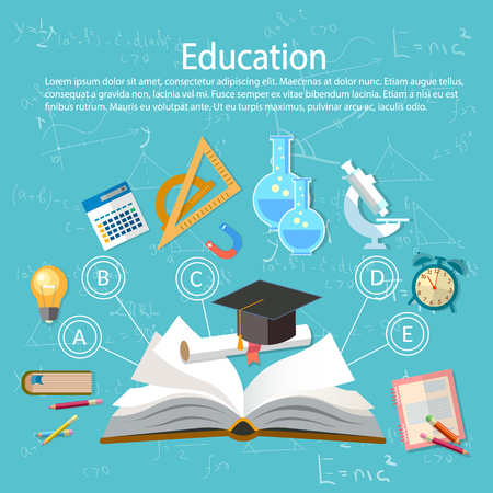 Education infographics open book of knowledge school background Stock Vector - 56732945