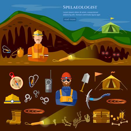 speleology: Speleology spelunker banners study of underground caves vector illustration